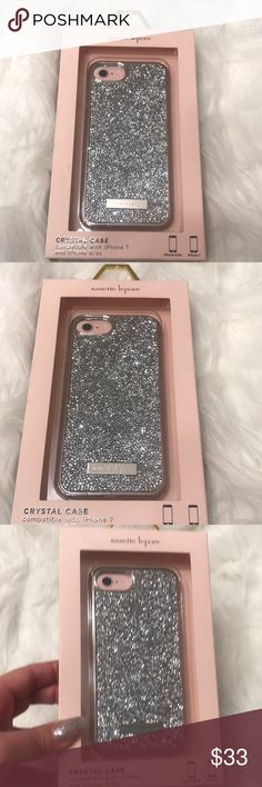 NWT Nanette lepore silver crystal iPhone case Compatible with iPhone 7 and iPhone 6/6s. Gorgeous silver crystal vase. Brand new Nannette Accessories Phone Cases