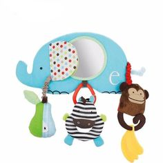 New Animal Elephant Soft Plush Crib Cot Bed Car Pram Safety Mirror Hanging Baby Toys