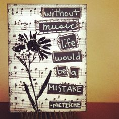 Black & White ATC, artist trading card. music, Nietzshe quote