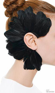 Earrings Feather Feather Ear Piece in Black by Francesco Ballestrazzi - Moda Operandi - Fascinator, Headpiece, Jewelry Art, Jewellery, Skull Jewelry, Hippie Jewelry, Black Feathers, Feather Earrings, Pearl Earrings