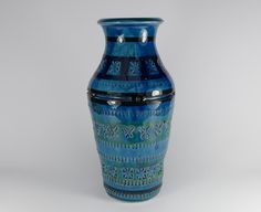 #Italian #ArtPottery #Vase #1960s/ #1970s - #Bitossi, £24.99obo by @20thCentGlam - A mid century modern design art pottery vase decorated with a vivid blue glaze over an incised and impressed design.  Although unmarked, it is mostly to be Italian and dating to c1965-70 and possibly ab Aldo Londi design for Bitossi.  Unmarked  Size - 25cm high 11.5cm diameter