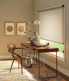 Neutral room with metal accents and a Hunter Douglas Roller shade.