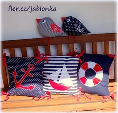 Námořnická sada II - s úpravami dle přání / Zboží prodejce jabloňka Fabric Crafts, Sewing Crafts, Sewing Projects, Cushion Covers, Pillow Covers, Fabric Fish, Deco Marine, Patchwork Pillow, Cute Pillows