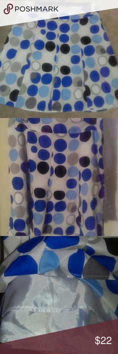 "Adorable Polka Dot Skirt Cutesty lightweight blue/white/black polka dot skirt. Fully lined with side zipper closure.  18.5 Waist (flat) 24.5"" L Lane Bryant Skirts"