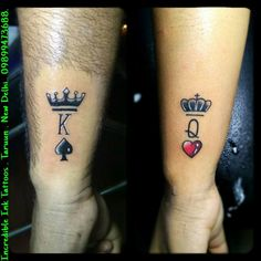 Outstanding tattoos for girls are offered on our internet site. Take a look and you wont be sorry you did. Crown Couple Tattoo, Queen Crown Tattoo, Queen Of Hearts Tattoo, King Queen Tattoo, Couple Tattoos Love, Couples Hand Tattoos, Partner Tattoos, Couples Tattoo Designs, Tattoo Designs For Girls