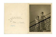 THE QUEEN SIGNS LILIBET  ELIZABETH II (b. 1926, Queen of Great Britain) & her sister MARGARET