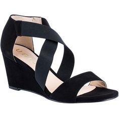 Unisa Diana Wedge Heeled Sandals, Black (€105) ❤ liked on Polyvore featuring