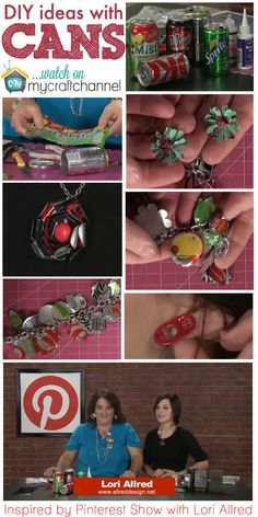 Soda can jewelry -- You will be amazed at hosoda can jewelryw simple and fun it can be to create necklaces, bracelets, earrings and key chains with soda pop cans. Upcycled Crafts, Recycled Art, Recycled Clothing, Recycled Fashion, Repurposed, Pop Can Crafts, Fun Crafts, Arts And Crafts, Aluminum Can Crafts