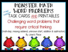 Word problems (task cards and printables) that allow children to use their critical thinking skills to solve the problems. Over 50 problems! Grade 1-3