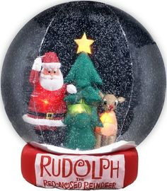 Gemmy Inflatable Christmas SnowGlobe - 8 Feet Rudolph and Santa