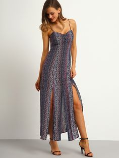 Multicolor Spagettic Strap Side Split Dress | MakeMeChic.COM