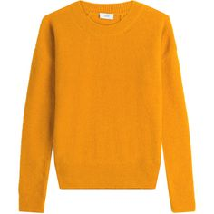 Closed Pullover (€180) ❤ liked on Polyvore featuring tops, sweaters, yellow, slim fit sweaters, orange sweater, pullover tops, round neck sweater and yellow pullover sweater