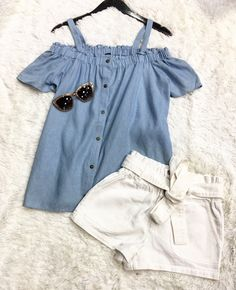 On Cloud 9 ☁️💕😍~xoxo >>>Baby Blue Denim off the shoulder top   White Tie Shorts<<<Pair with fringe booties; high ponytail; white sneakers; sunglasses; beige tote for alternative looks. . For immediate assistance call ☎️701-356-5080 (We Ship
