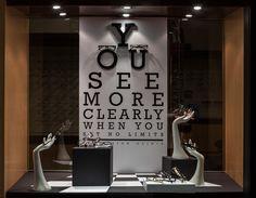 Visual Merchandising Arts, School of Fashion at Seneca College. Window Display Retail, Window Display Design, Retail Store Design, Retail Stores, Optometry Office, Store Displays, Retail Displays, Glass Store, Visual Merchandising Displays