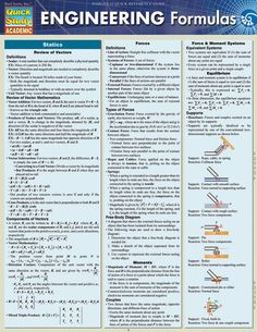 Physics: Equations & Answers Laminated Study Guide - BarCharts Publishing Inc makers of QuickStudy Engineering Science, Electrical Engineering, Civil Engineering, Industrial Engineering, Mechanical Engineering Projects, Chemical Engineering, Physics Formulas, Fluid Mechanics, Just In Case