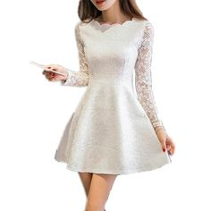 Spring Summer Autumn Women Lace Casual Dress Long Sleeve Korean Party Dresses Vestido White Black Pink Mini Dress Robe Dentelle $26.95   => Save up to 60% and Free Shipping => Order Now! #fashion #woman #shop #diy  http://www.greatdress.net/product/spring-summer-autumn-women-lace-casual-dress-long-sleeve-korean-party-dresses-vestido-white-black-pink-mini-dress-robe-dentelle/