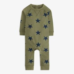 The cutest little outfit is here! Shop easy one-pieces for baby in a beautiful muted star print thats perfect for boys and girls sizes 0-24 months.