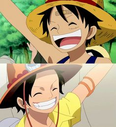 one piece gif | Cute Luffy And Ace Gif by AnniiSkittles on deviantART