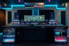 n epic studio with excellent design. Audio Studio, Music Studio Room, Studio Desk, Sound Studio, Studio Setup, Recording Studio Furniture, Recording Studio Design, Studio Build, Studio Equipment