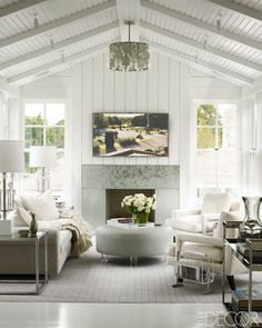 Havens South Designs loves this high, beamed ceiling
