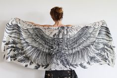White Cotton scarf, Hand painted printed Wings and feathers, stunning unique and useful, perfect gift