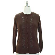 $29.99 nice Brown Long Sleeve Floral & Tiny Rhinestone Cardigan Sweater