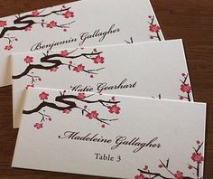 The Sakura wedding day escort cards are shown here for a beautiful example of your stationery