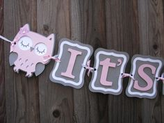 Pink and Gray It's A Girl Baby Shower Owl por PoshPartyCompany