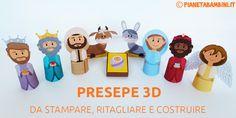 Un presepe 3D di carta molto carino da stampare, ritagliare e costruire con i vari personaggi, adatto ai bambini della scuola dell'infanzia e primaria