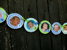 First Year Photo Banner, First Birthday Banner, boy, blue and green