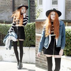Catarzi Wide Brim Fedora, Asos Borg Lined Denim Jacket, Hearts & Bows Striped Cropped Jumper, Motel Riphon Cord Zip Skirt, American Apparel Thigh High Socks, Asos Black Lace Up Booties