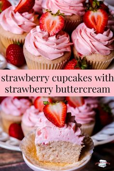 Strawberry Cupcakes With Strawberry Buttercream are bursting with brilliant strawberry flavor in every bite and are made completely from scratch! Gourmet Cupcakes, Baking Cupcakes, Cupcake Cakes, Easter Cupcakes, Flower Cupcakes, Strawberry Cupcake Recipes, Strawberry Buttercream, Buttercream Cupcakes, Strawberry Sweets