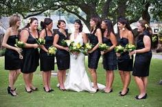 I like the mismatching but they all still coordinate. It like the idea of black bridesmaid dresses so they could be worn again! Black Bridemaids Dresses, Different Bridesmaid Dresses, Black Bridesmaids, Wedding Dresses, Formal Dresses, Bride Sister, Sister Wedding, Purple Wedding, Dream Wedding
