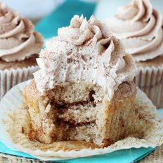 Cinnamon Sugar Swirl Cupcakes - cinnamon cupcakes with layers of cinnamon sugar, topped with cinnamon icing! Irresistible!