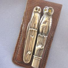 Sterling ARTS & CRAFTS Owl Pencil & Pocket Knife Set Leather Case