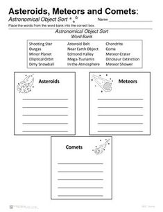 Asteroids - Meteors - Comets - Introductions... by Geo-Earth Sciences | Teachers Pay Teachers