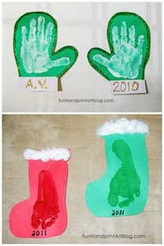 Footprint Stockings - Easy Christmas Craft For Toddlers and Preschoolers! Easy Handprint Winter Crafts For Toddlers, Preschool, & Kindergarten Easy Christmas Crafts For Toddlers, Preschool Christmas Crafts, Daycare Crafts, Winter Crafts For Kids, Toddler Christmas, Baby Crafts, Winter Preschool Crafts Toddlers, Christmas Clay, Felt Crafts