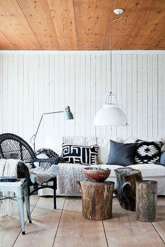 this color scheme!  and materials.  for living room.  need a tree stump side table @Kathy Chan Totten