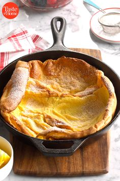 My aunt made a mighty breakfast that revolved around 'The Big Pancake'. I always enjoyed watching as she poured the batter into her huge iron skillet, then created the perfect confection: baked pancakes. Baked Pancakes, Oatmeal Pancakes, Brunch Recipes, Breakfast Recipes, Pancake Recipes, Homemade Macaroni Salad, Easter Brunch Menu, Famous Recipe, Sweet Potato Casserole