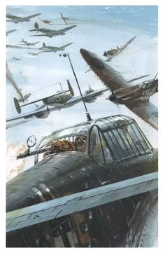 German Bf110's attacked by Spitfires over Britain.
