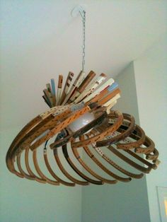 Light made of old tennis rackets