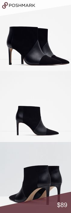 "TODAY ONLY! ZARA Stiletto Heels BRAND NEW Brand new with tags and original box. Zara Eur 37 / US 6.5. Heel height is 3.4"". Topstitching detail and contrasting material. Available in size US 7.5 and 10 also. Cheaper on Ⓜ️, just ask :) Zara Shoes Ankle Boots & Booties"