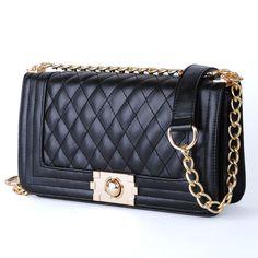 NEW ARRIVAL PROMOTION  2013 Women Handbags Black Colour Vintage Plaid Chain Bag PU Leather Women's Bags HEC512 Free Shipping! $21.99