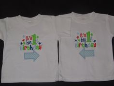 Twin Boys Birthday Shirt It's His First by PerryWinklesEmb on Etsy, $40.00