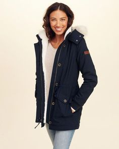 267f5dd14f0 Hollister Stretch Cozy-Lined Parka. Great for the cold nights. (affiliate)