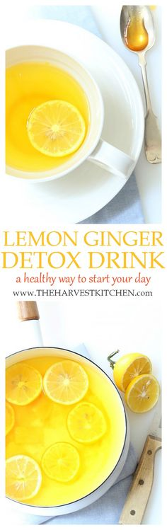 LEMON GINGER DETOX TEA RECIPE This Lemon Ginger Morning Detox Drink with Turmeric is a great way to start your day. This detox drink is rich in vitamin c and antioxidants and helps gently cleanse and alkalize the body. Healthy Smoothie, Smoothie Detox, Healthy Detox, Healthy Drinks, Healthy Water, Detox Salad, Fruit Smoothies, Vegan Detox, Fruit Diet
