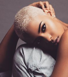 Love                                                                                                                                                                                 More Shaved Head, Pixie Natural Hair, Blonde Natural Hair, Natural Blondes, Natural Hair Styles, Short Hair Cuts, Short Hair Styles, Afro Blonde, Short Blonde