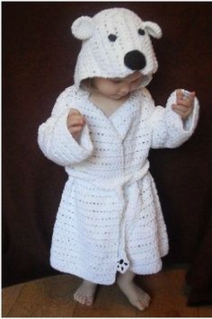 Crochet PATTERN Polar Bear Bathrobe Dressing Gown Months, Months 4 Years old kids children, Absorbent, warm and light, prefect for bathtime Crochet Bebe, Crochet For Kids, Crochet Hooks, Knit Crochet, Crochet Children, Crochet Round, Chain Stitch, Slip Stitch, Crochet Crafts