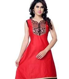 Buy Red Printed Cotton Sleeveless Kurti kurtas-and-kurti online