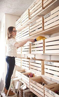 Exclusive Peek: Happy Handmade Home! – A Beautiful Mess – Garage Organization DIY Handmade Home, Home Organisation, Garage Organization, Organization Ideas, Organizing Tips, Organization Station, Organising, Craft Storage, Storage Boxes